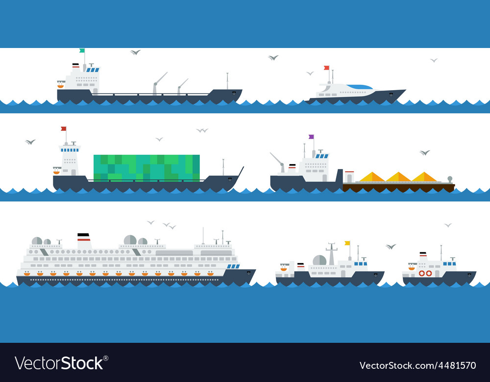 Motor and cargo ships vector | Price: 1 Credit (USD $1)