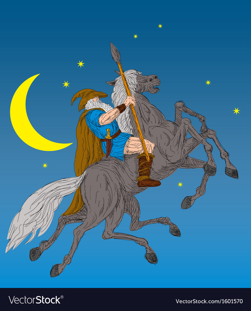 Norse god odin riding eight-legged horse vector | Price: 1 Credit (USD $1)