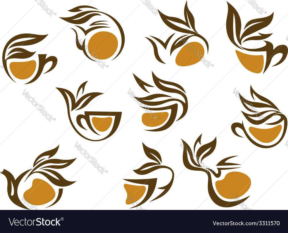 Organic herbal tea icons vector | Price: 1 Credit (USD $1)