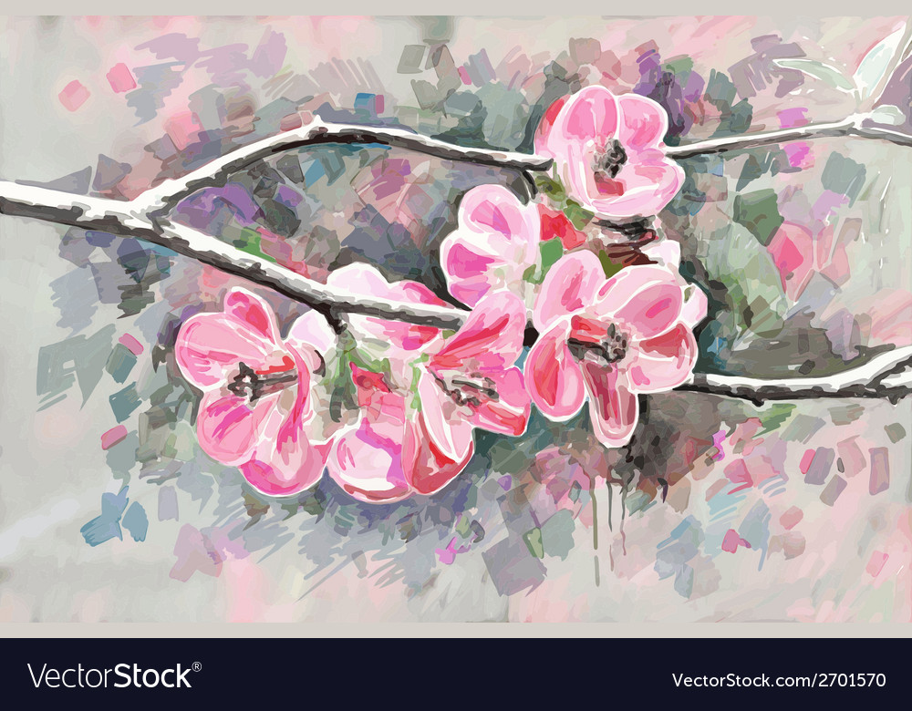 Original painting of flower blooming spring vector | Price: 1 Credit (USD $1)