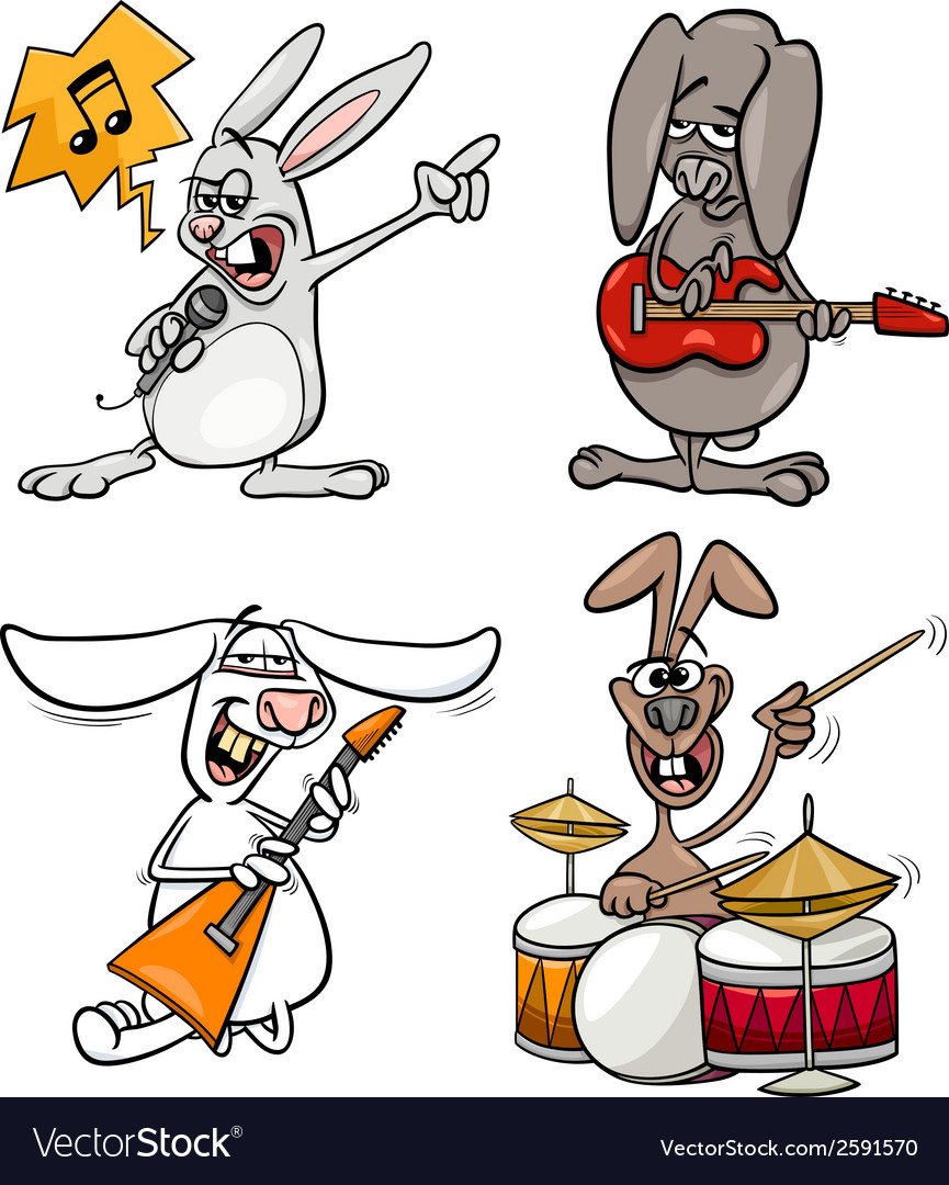 Rabbits rock musicians set cartoon vector | Price: 1 Credit (USD $1)