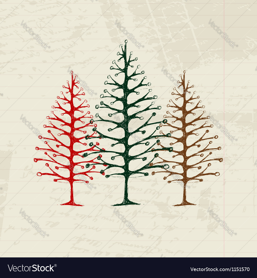 Sketch of christmas pines on sheet for your design vector   Price: 1 Credit (USD $1)