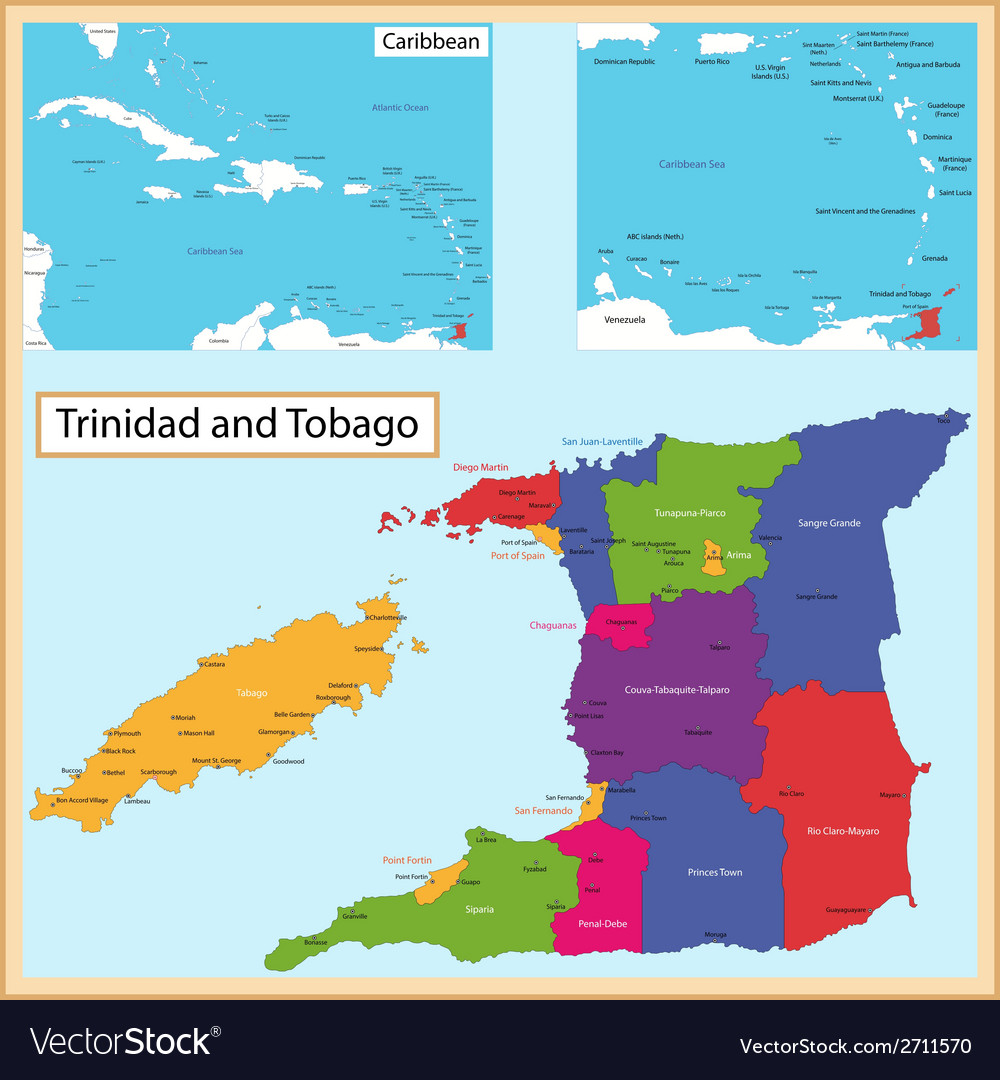 Trinidad and tobago map vector | Price: 1 Credit (USD $1)