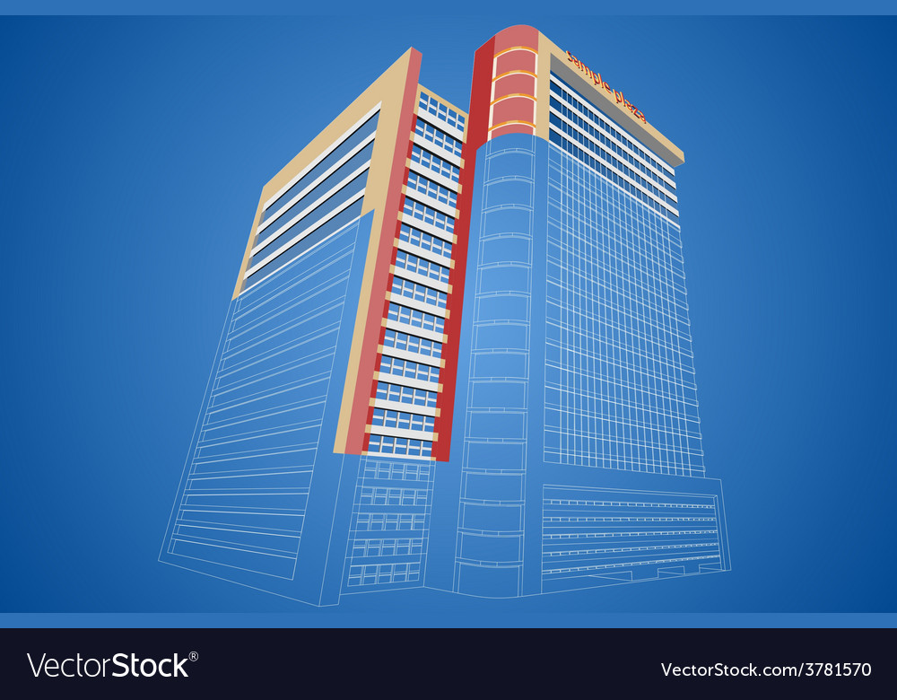 Wireframe dimensional shopping mall building vector | Price: 1 Credit (USD $1)