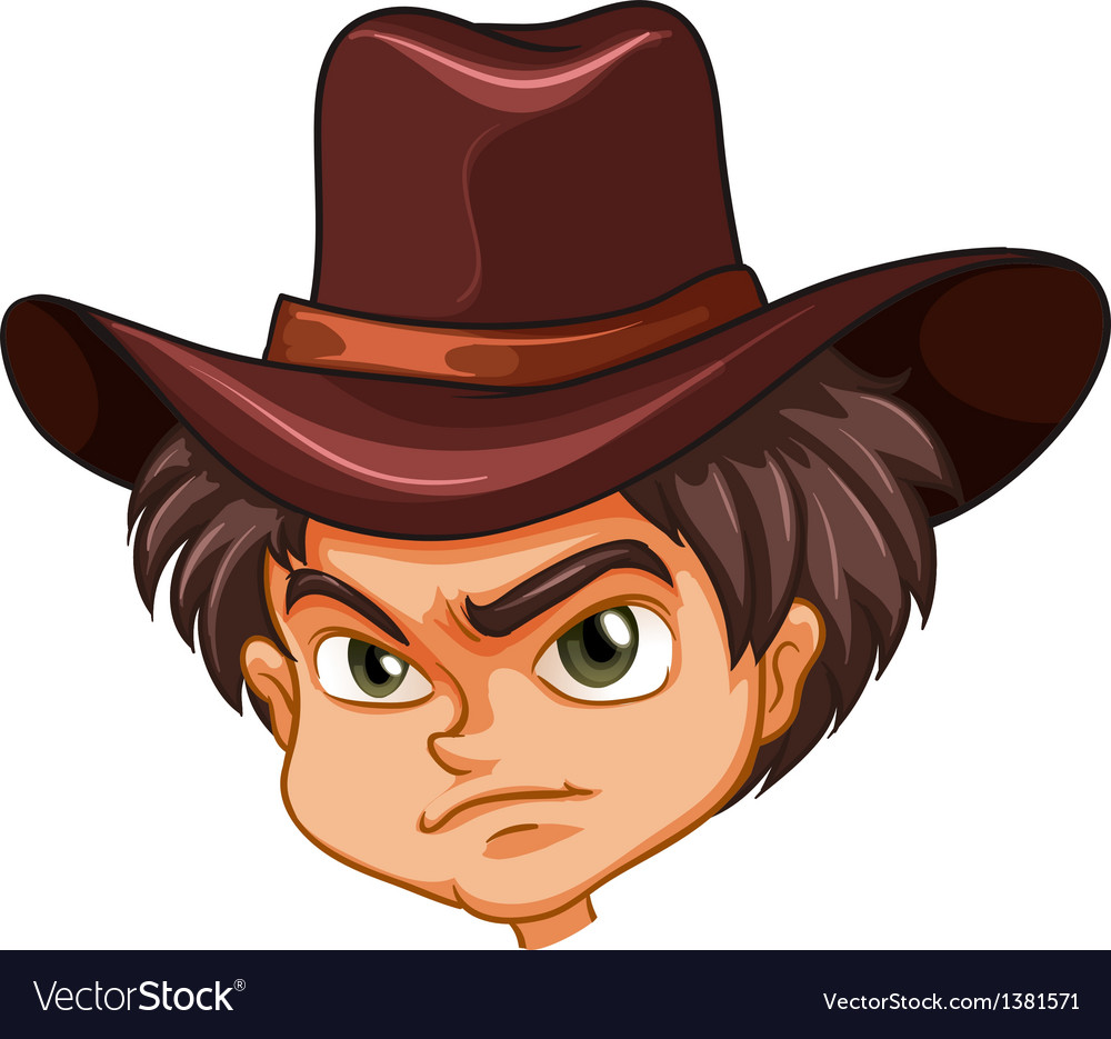 An angry face of a cowboy vector | Price: 1 Credit (USD $1)