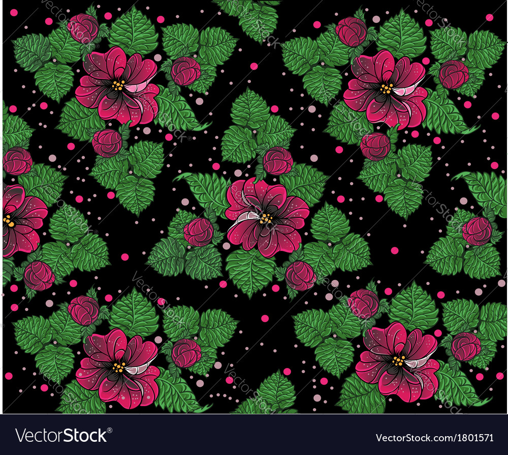 Background pattern from pinck flowers on the black vector | Price: 1 Credit (USD $1)