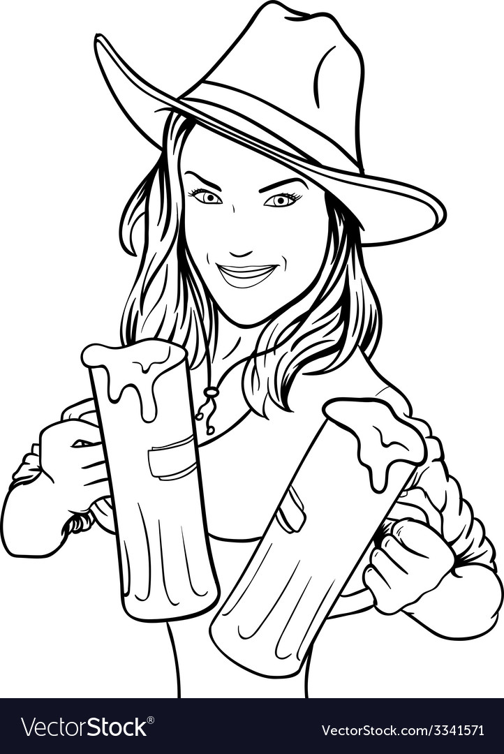 Beer girl vector | Price: 1 Credit (USD $1)