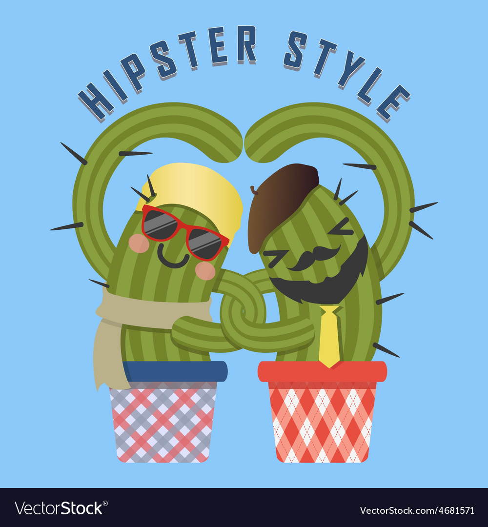 Loving couple of hipster cactus arm in arm vector | Price: 1 Credit (USD $1)