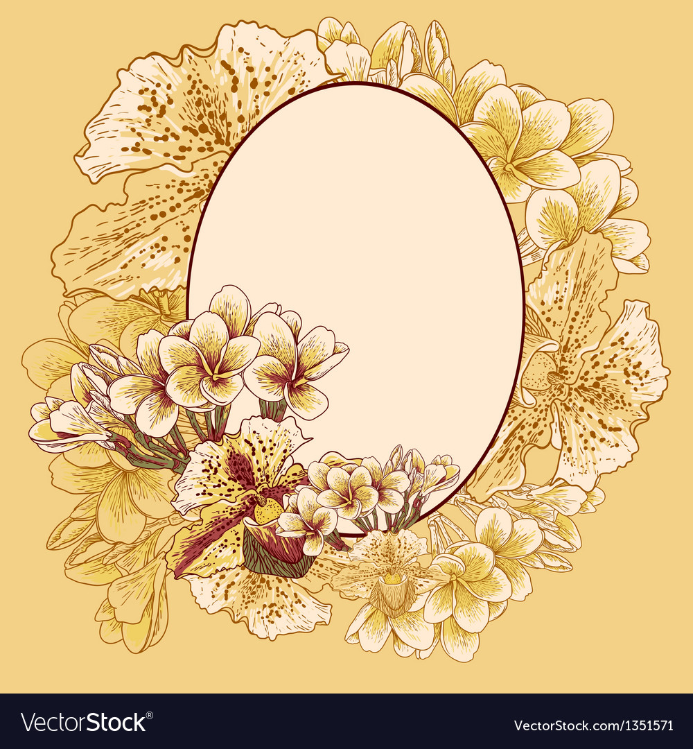 Retro frame with exotic flowers vector | Price: 1 Credit (USD $1)