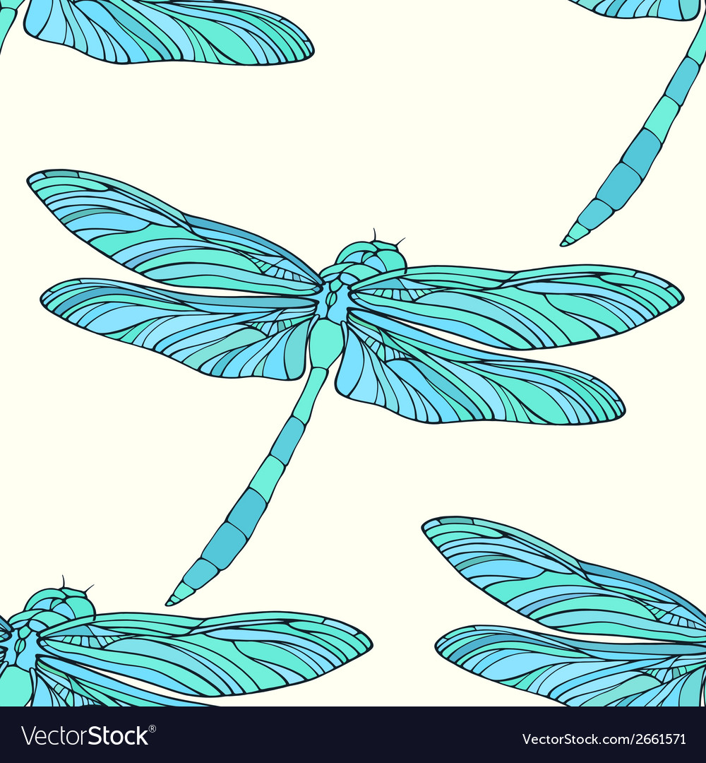 Seamless pattern with hand drawn dragonflies vector | Price: 1 Credit (USD $1)