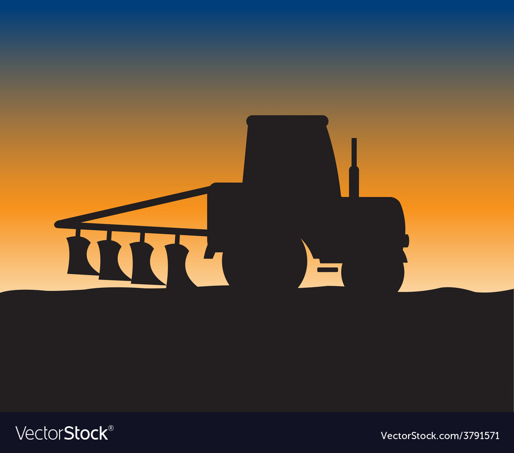 Silhouette of the tractor in field vector | Price: 1 Credit (USD $1)