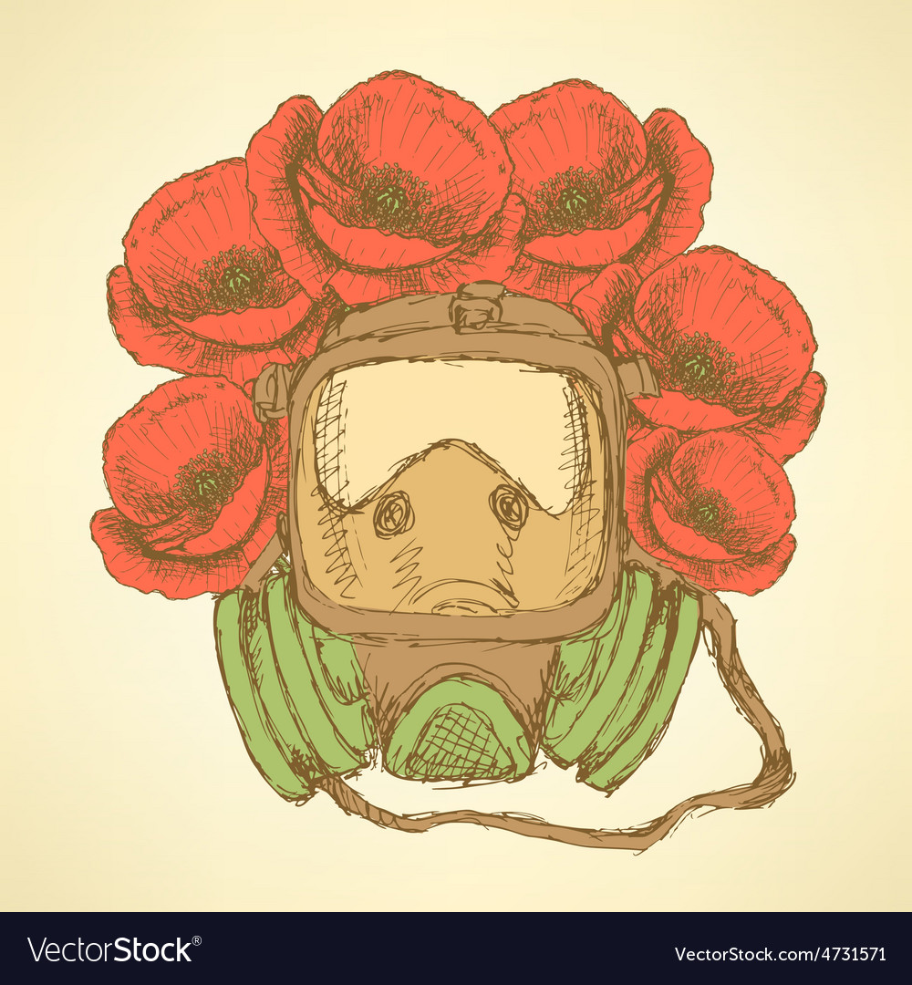 Sketch respiratory mask with poppies in vintage vector | Price: 1 Credit (USD $1)