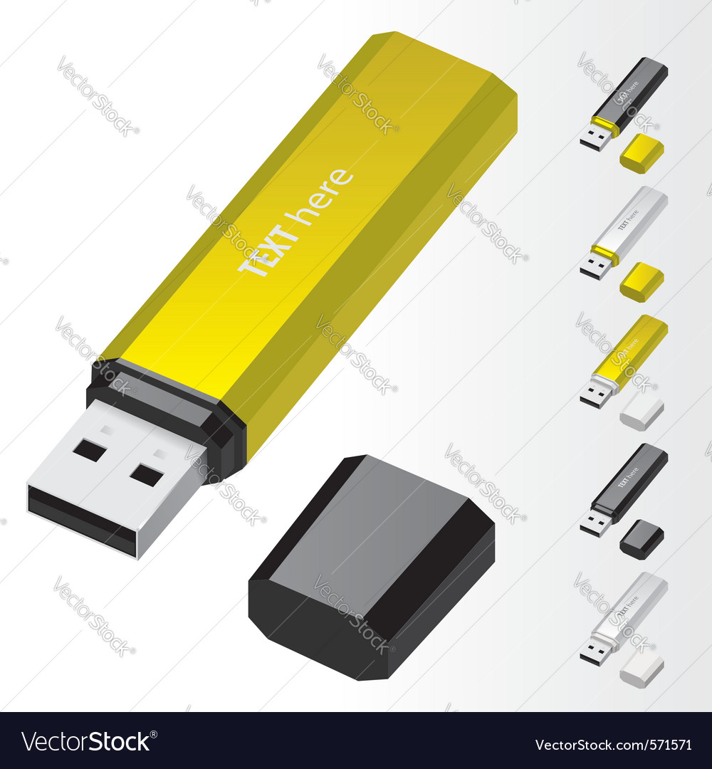 Yellow usb flash drive vector | Price: 1 Credit (USD $1)