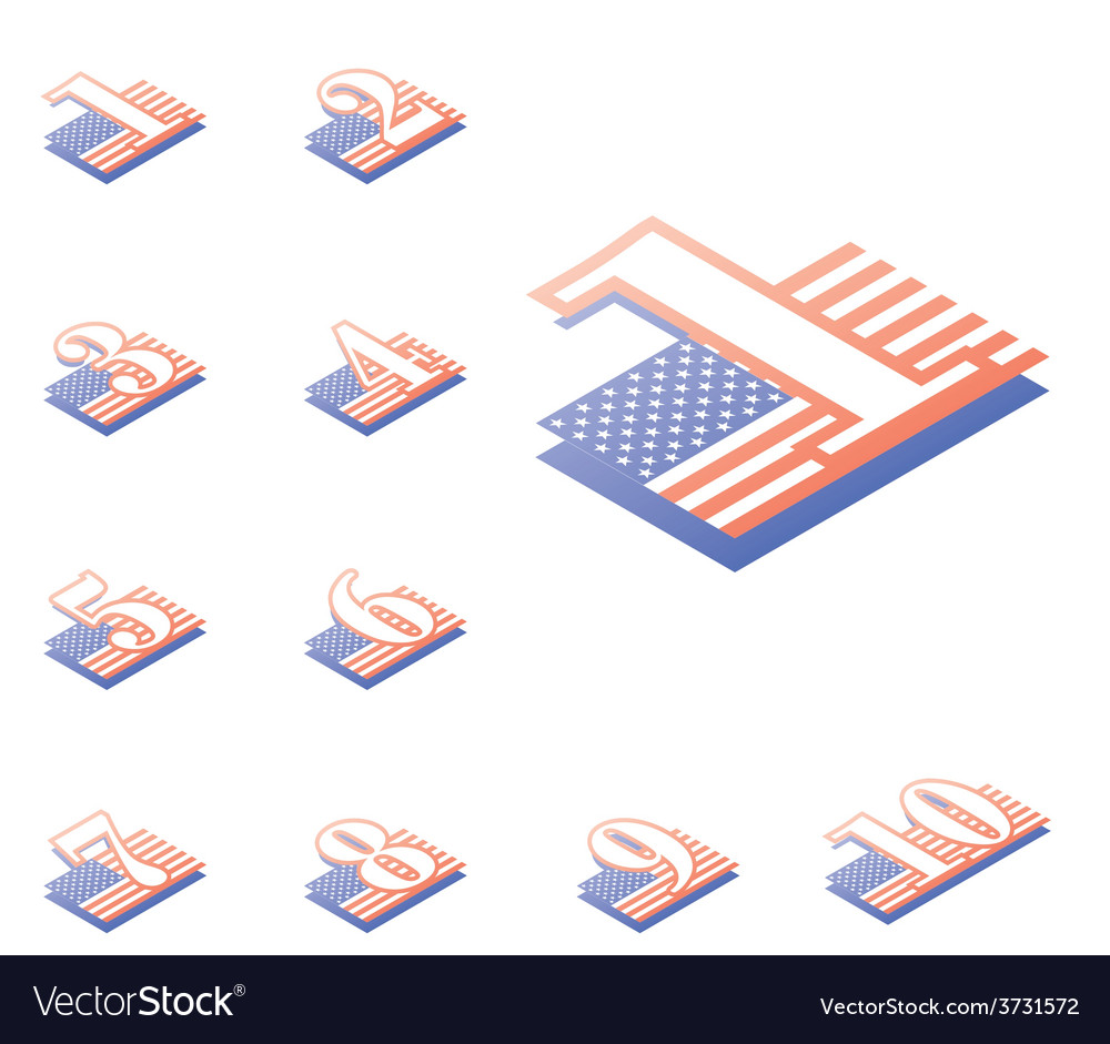 American style numeralsfrom 1 to 10 originally vector | Price: 1 Credit (USD $1)