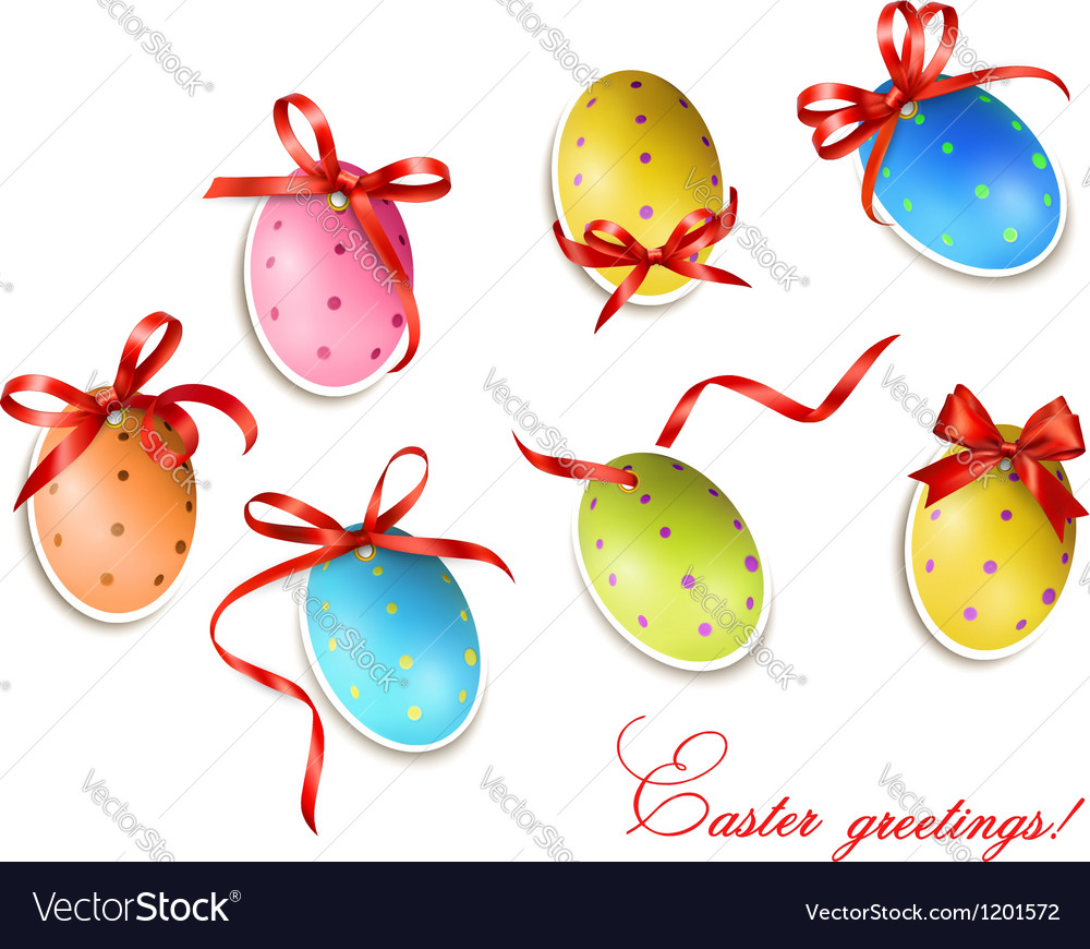 Decorative easter eggseaster cards with red bow vector | Price: 1 Credit (USD $1)