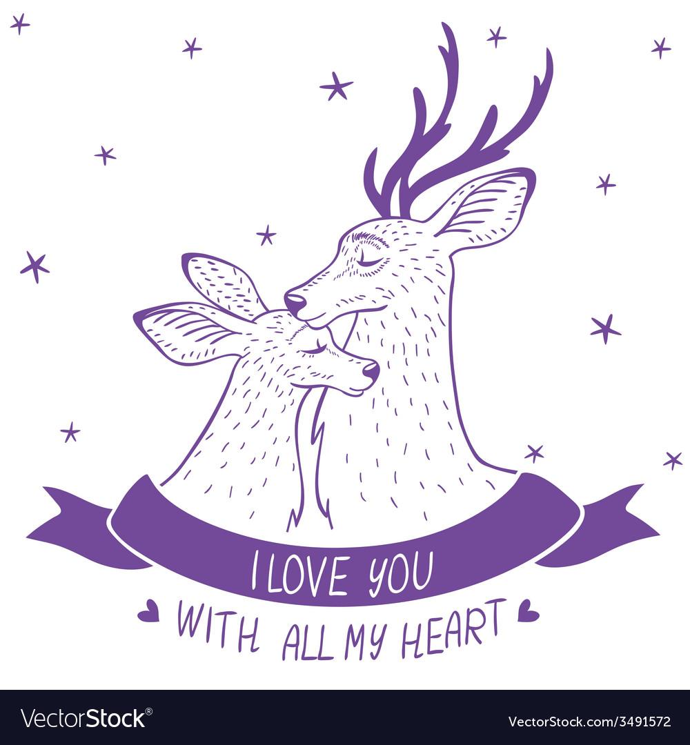 Deer couple silhouette vector | Price: 1 Credit (USD $1)