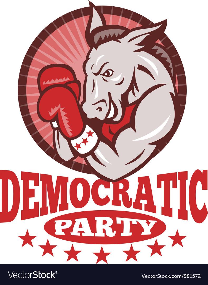 Democrat donkey mascot boxing vector | Price: 3 Credit (USD $3)