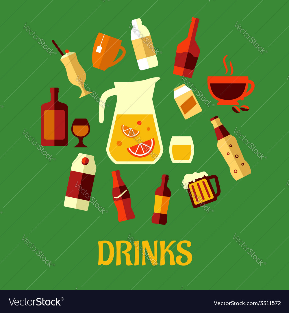 Flat assorted beverages and drinks vector | Price: 1 Credit (USD $1)