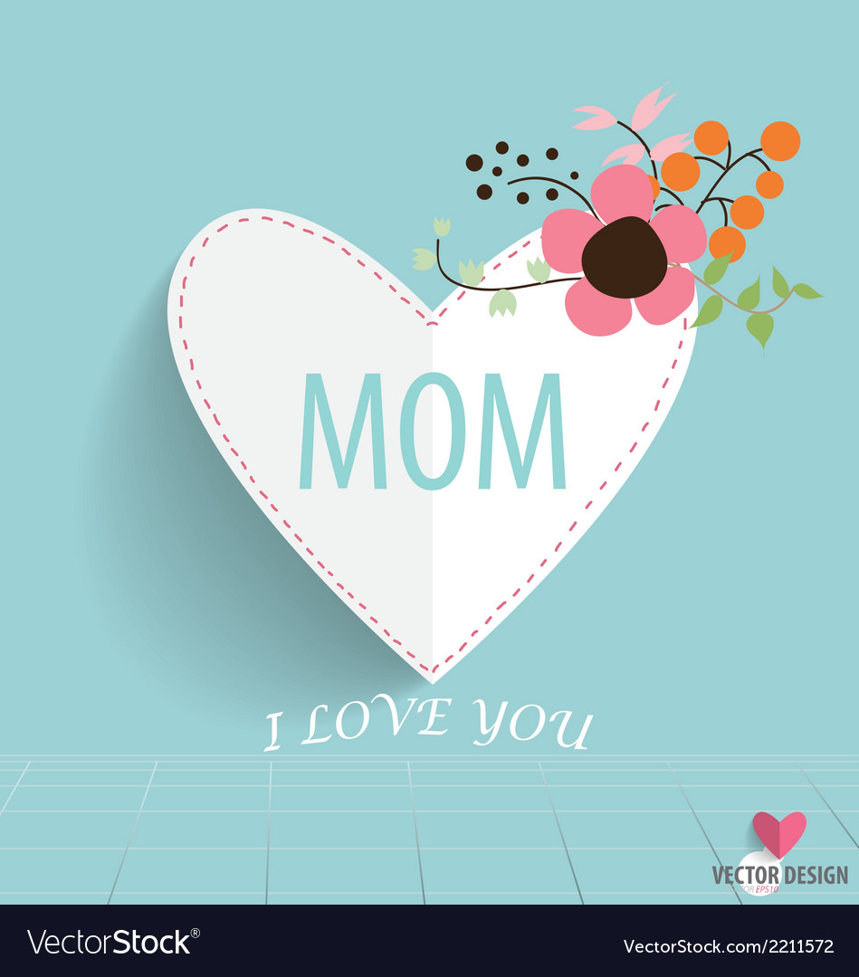 Happy motherss day heart paper with floral vector | Price: 1 Credit (USD $1)