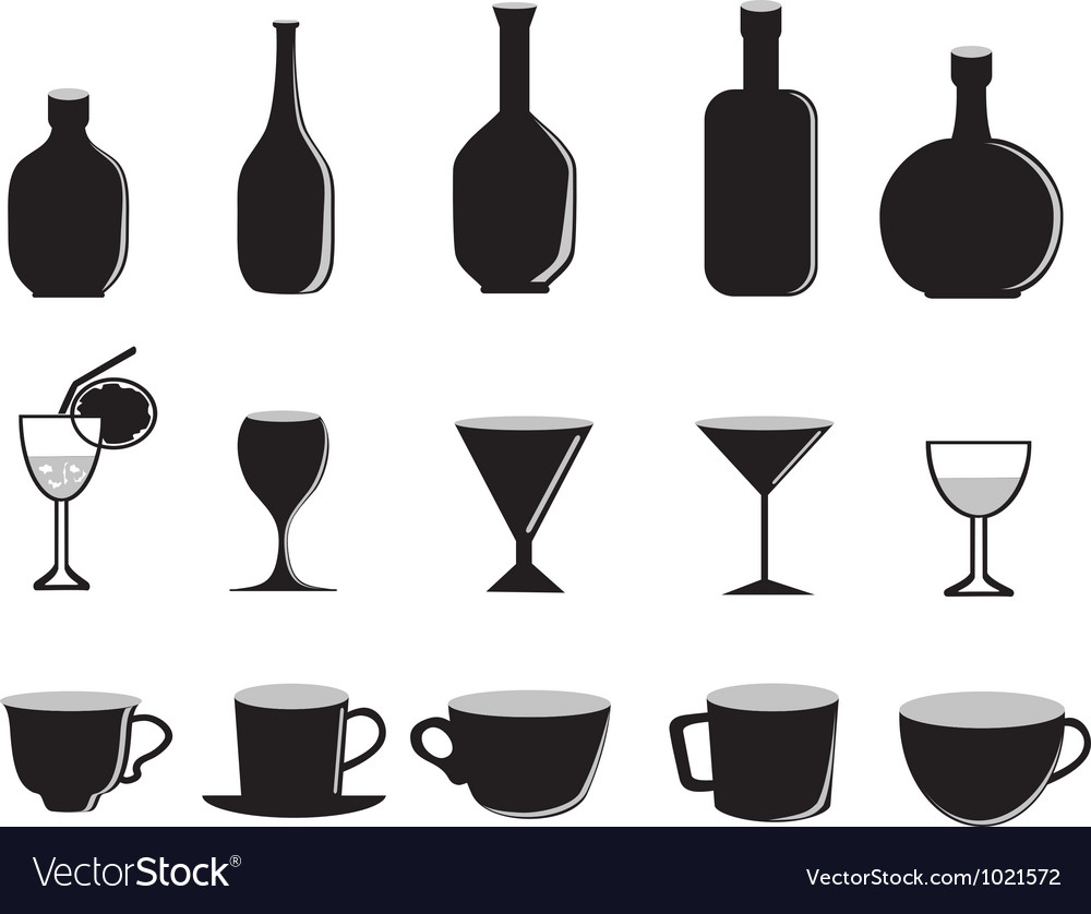Silhouette of glass bottles and cups vector   Price: 1 Credit (USD $1)