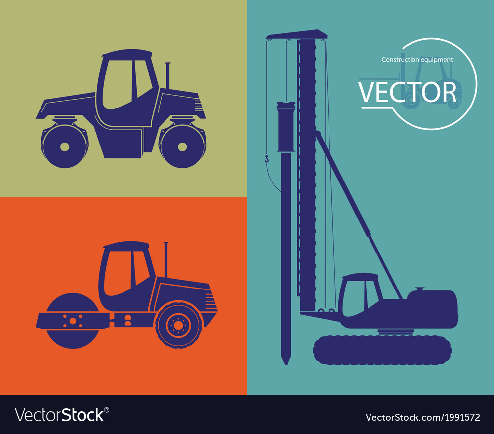 Silhouettes of construction equipment set vector | Price: 1 Credit (USD $1)