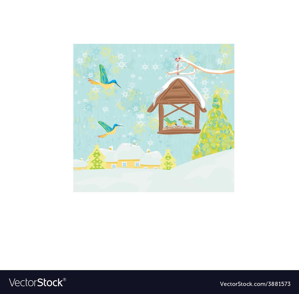 Birdfeeder in winter vector | Price: 1 Credit (USD $1)