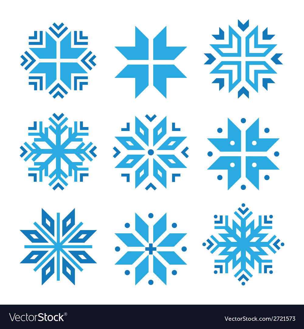 Christmas winter blue snowflakes icons set vector | Price: 1 Credit (USD $1)