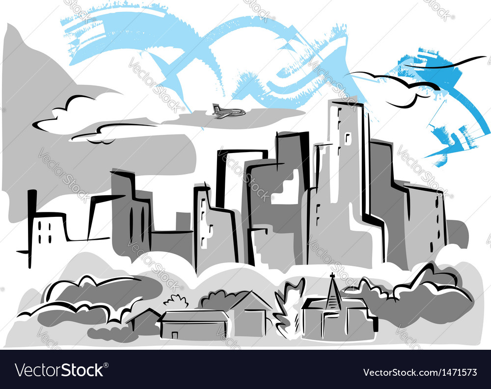 City houses vector | Price: 1 Credit (USD $1)