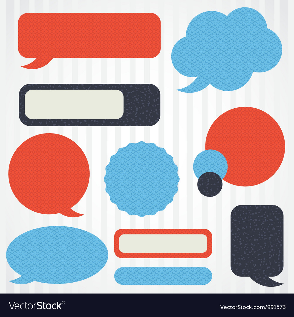 Collection of retro speech bubbles and dialog vector | Price: 1 Credit (USD $1)