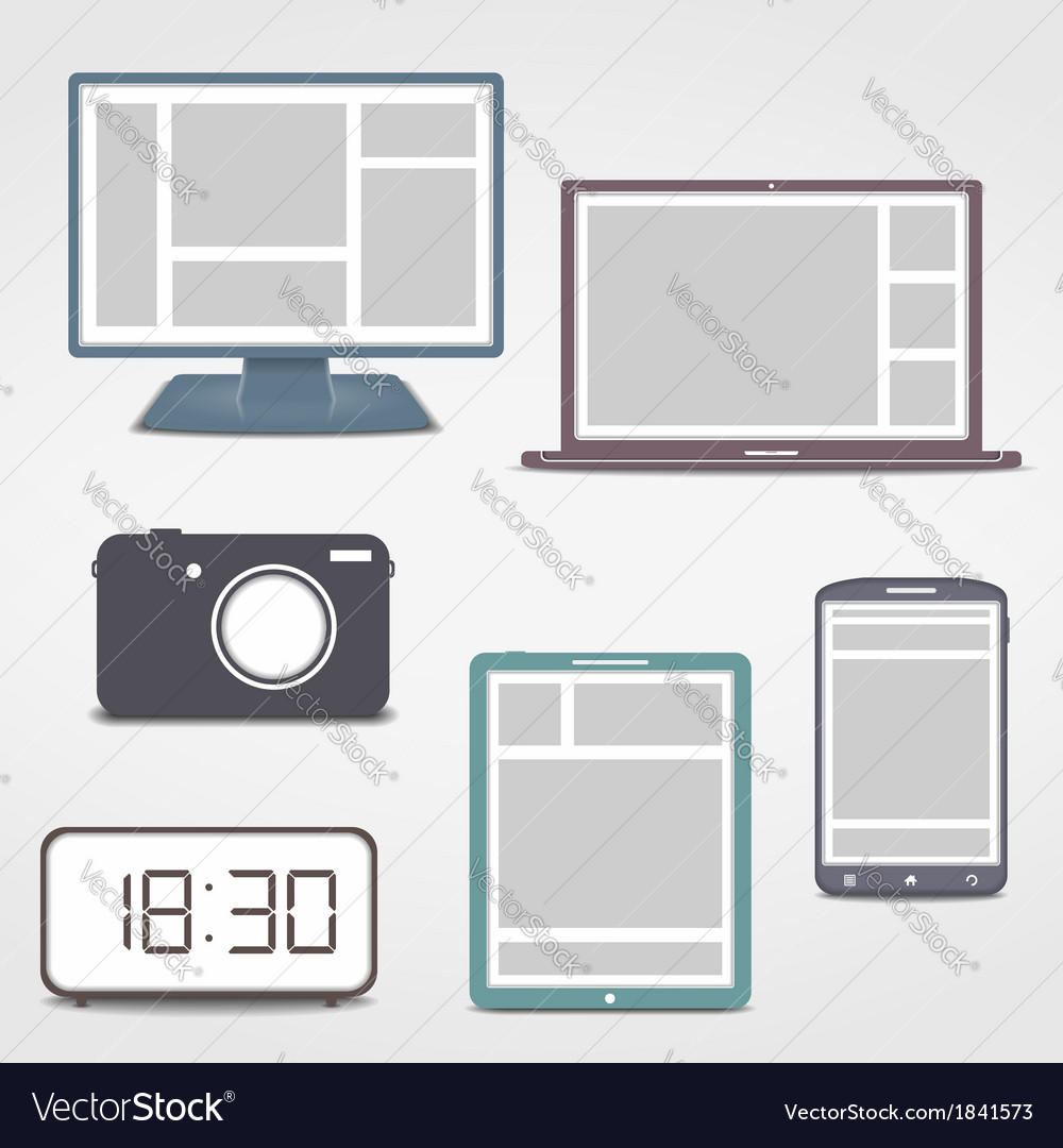 Colored electronics icons vector | Price: 1 Credit (USD $1)