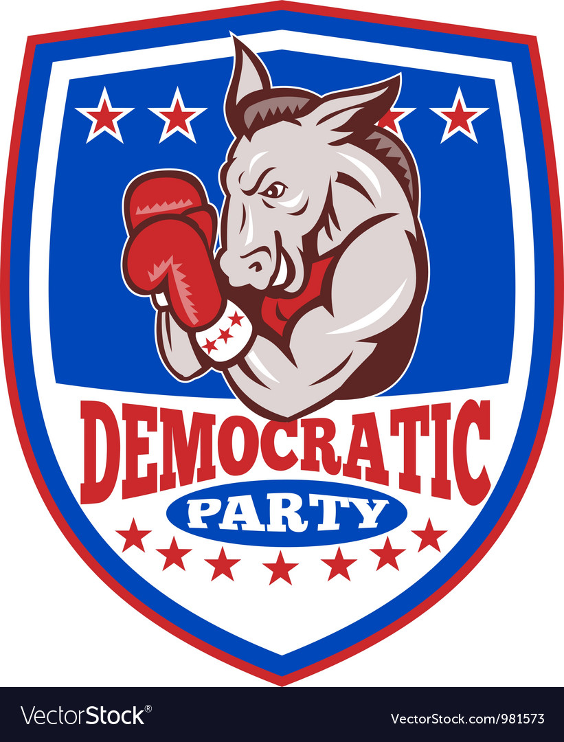 Democrat donkey mascot boxer shield vector | Price: 3 Credit (USD $3)