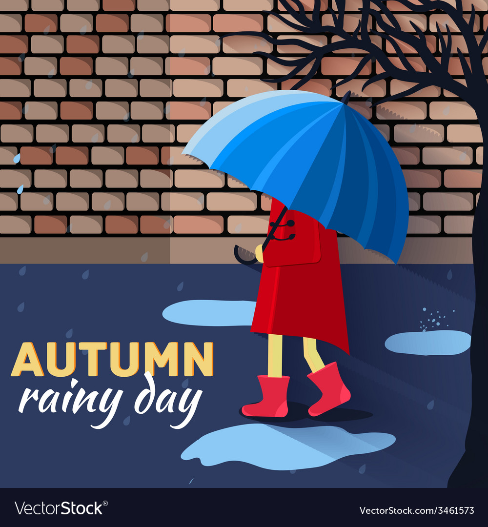 Girl and boy with umbrella in a autumn raining day vector | Price: 1 Credit (USD $1)