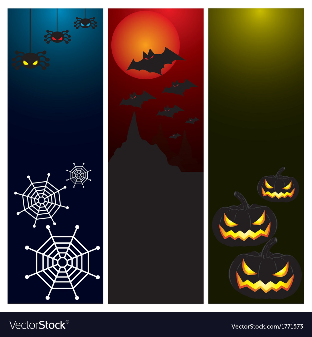 Happy halloween day banner set design vector | Price: 1 Credit (USD $1)