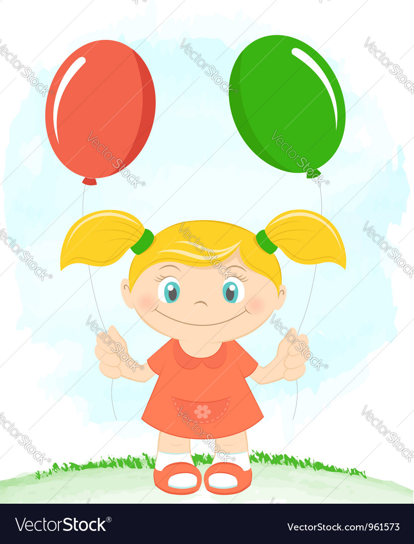 Little girl with toy balloons vector | Price:  Credit (USD $)