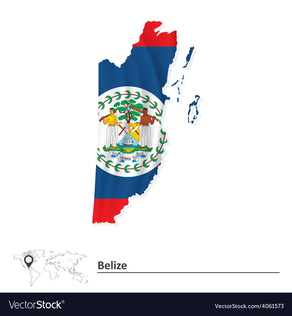 Map of belize with flag vector | Price: 1 Credit (USD $1)