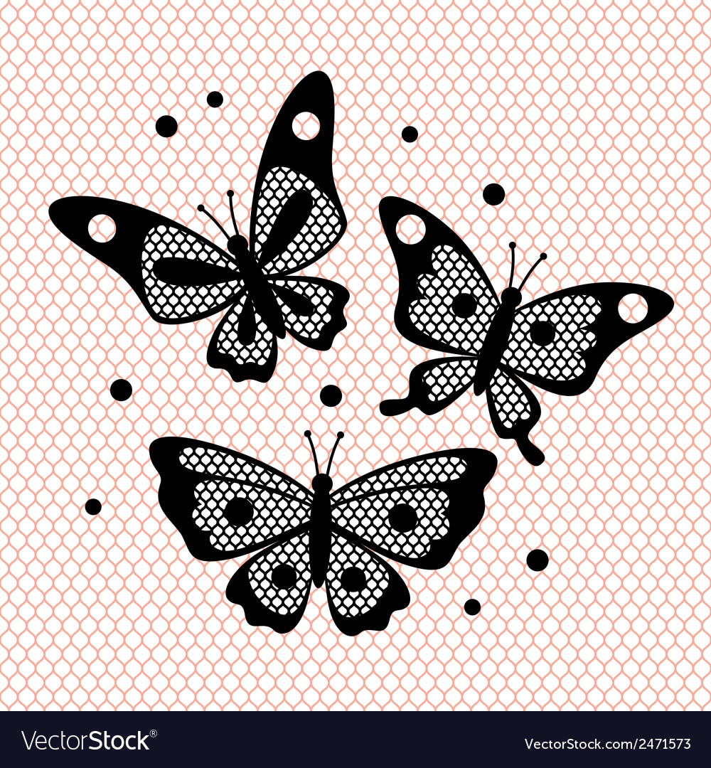 Set of vintage lace butterflies for design vector | Price: 1 Credit (USD $1)