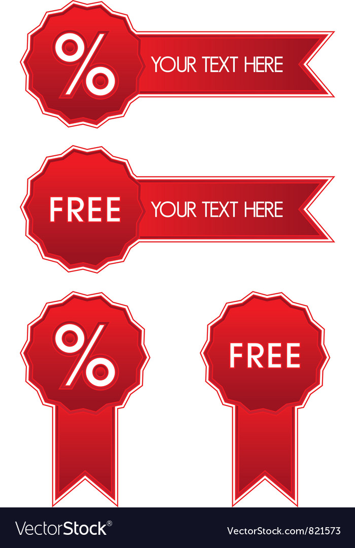Shiny red discount and free badge vector | Price: 1 Credit (USD $1)