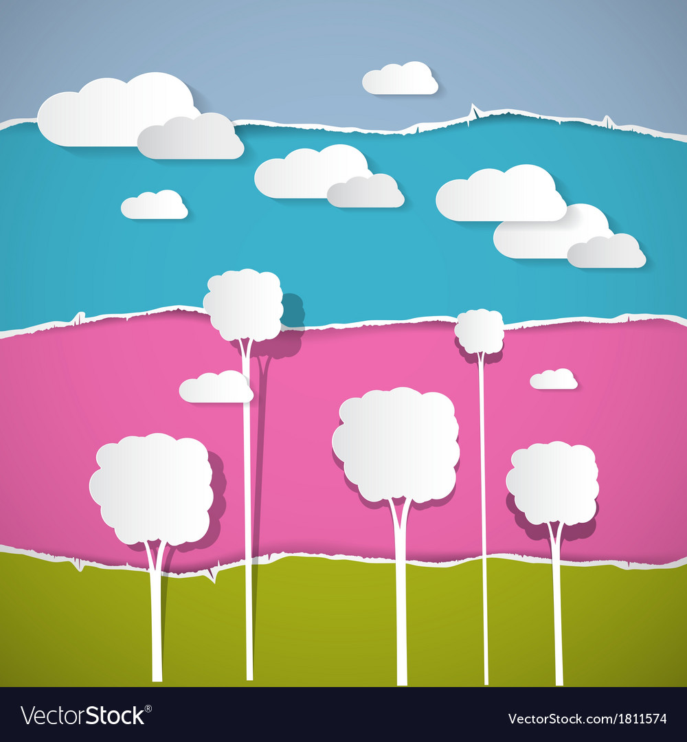 Abstract trees clouds on retro torn paper vector | Price: 1 Credit (USD $1)
