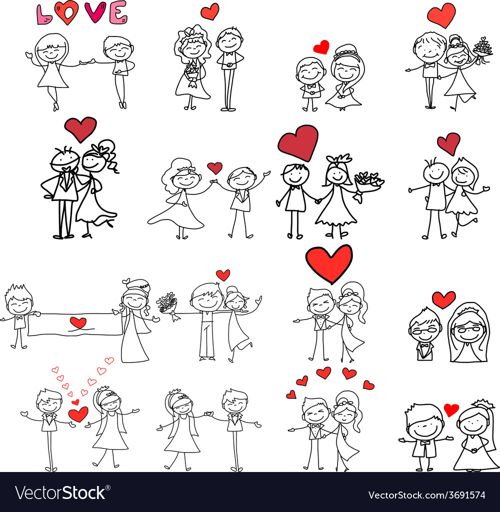 Cartoon hand-drawn love vector | Price: 1 Credit (USD $1)
