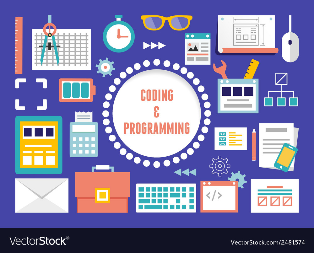 Concept of coding and programming with equipment vector | Price: 1 Credit (USD $1)