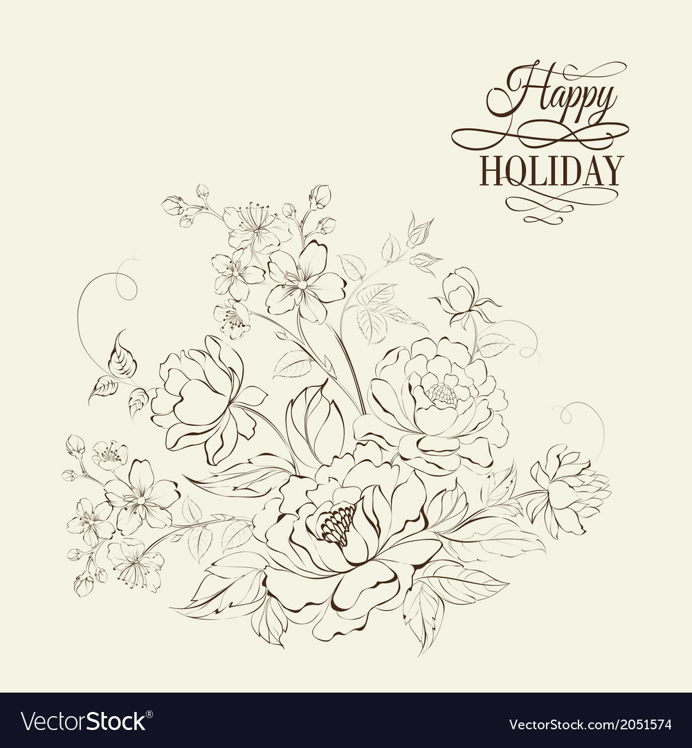 Flower bouquet of peony and sakura flowers vector | Price: 1 Credit (USD $1)