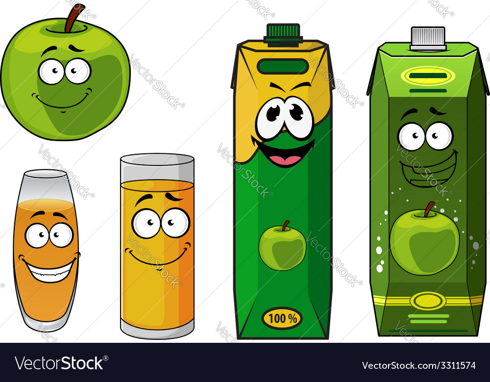 Fresh cartoon apple with apple juice vector | Price: 1 Credit (USD $1)
