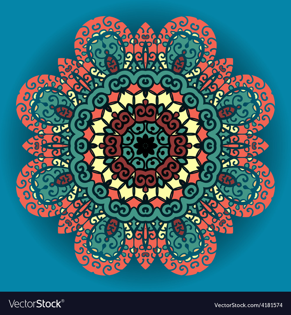 Green and red mandala ornament over azure vector | Price: 1 Credit (USD $1)