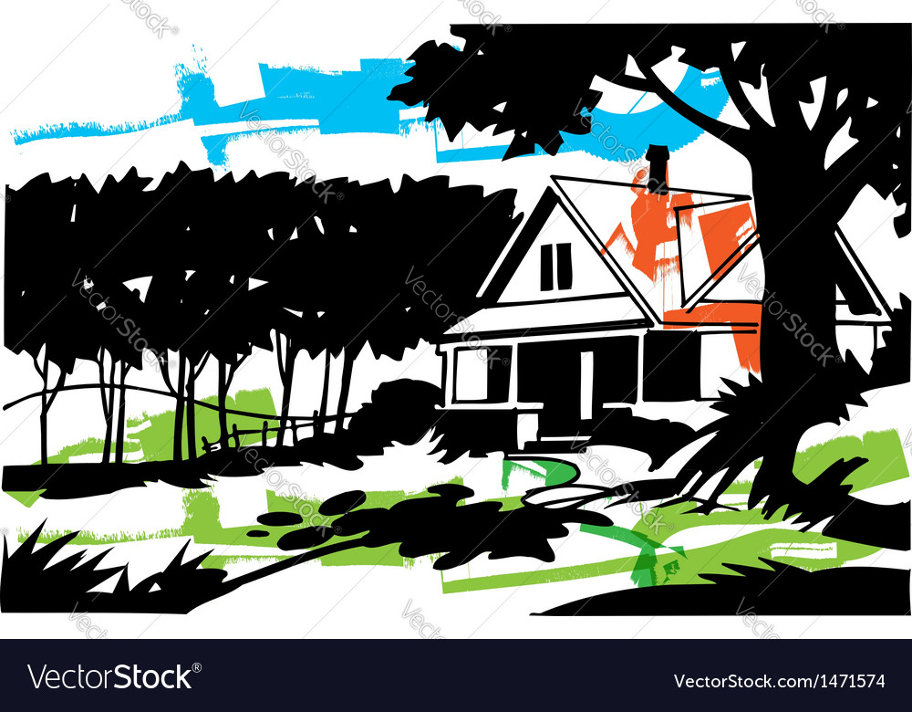 Home in the suburbs vector | Price: 1 Credit (USD $1)