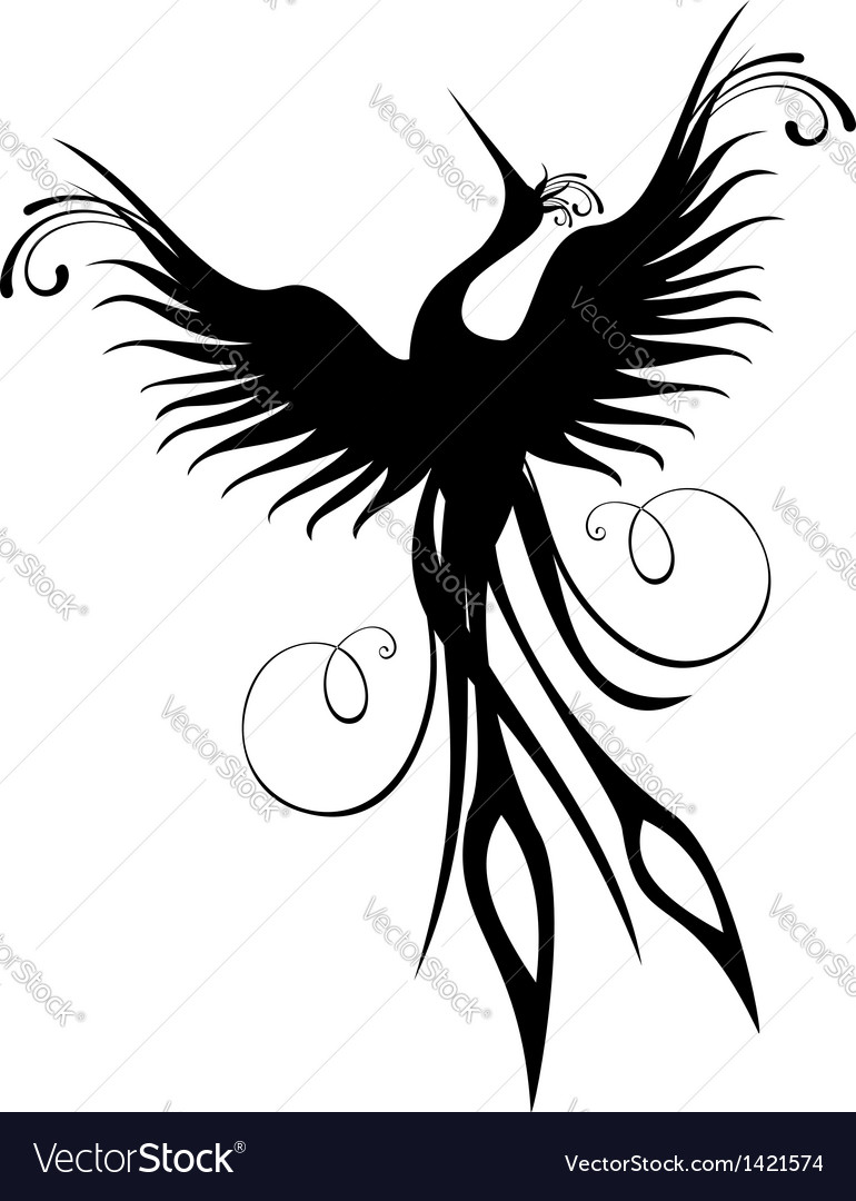 Phoenix bird figure isolated vector | Price: 1 Credit (USD $1)