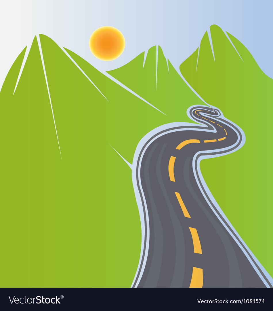 Road and green mountains vector | Price: 1 Credit (USD $1)