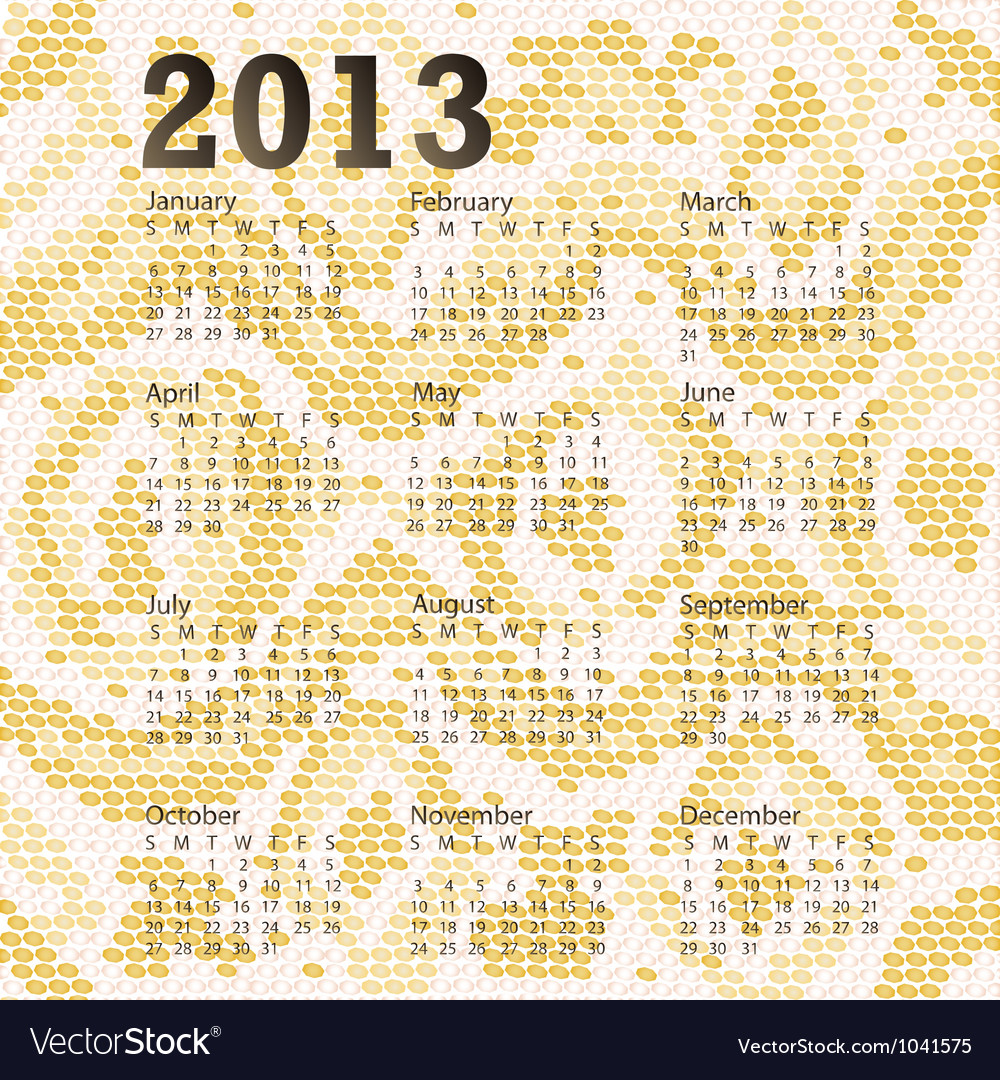2013 calendar albino snake skin vector | Price: 1 Credit (USD $1)