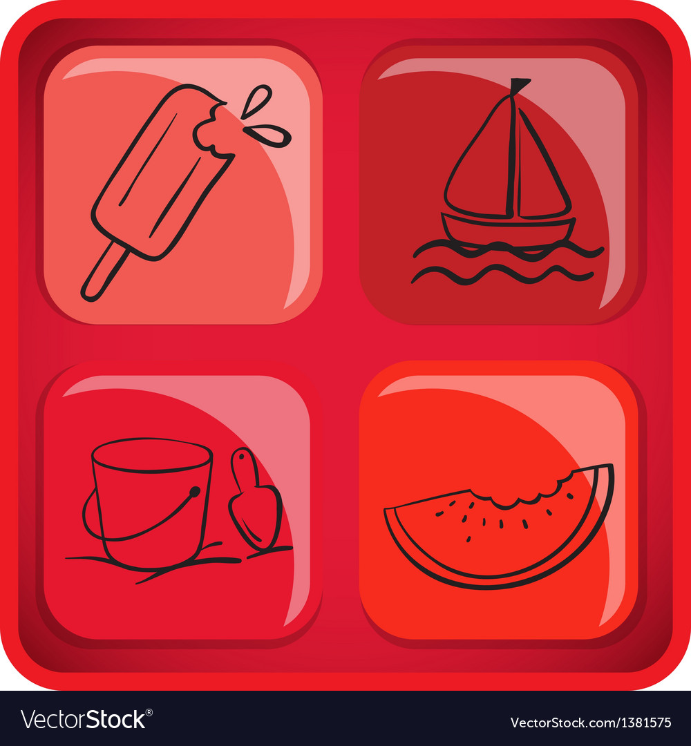 A cube with foods and things for summer vector | Price: 1 Credit (USD $1)