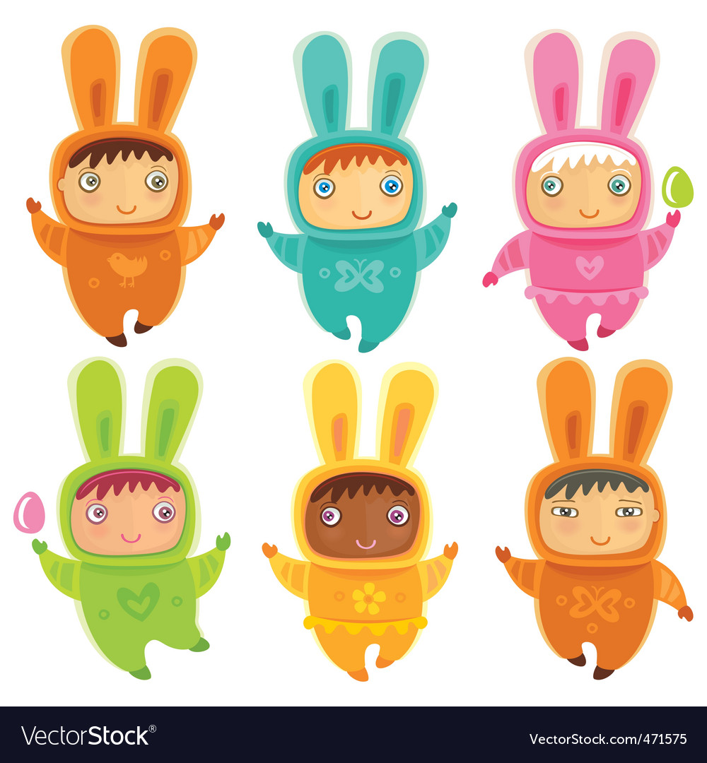 A cute little babies bunnies vector | Price: 3 Credit (USD $3)