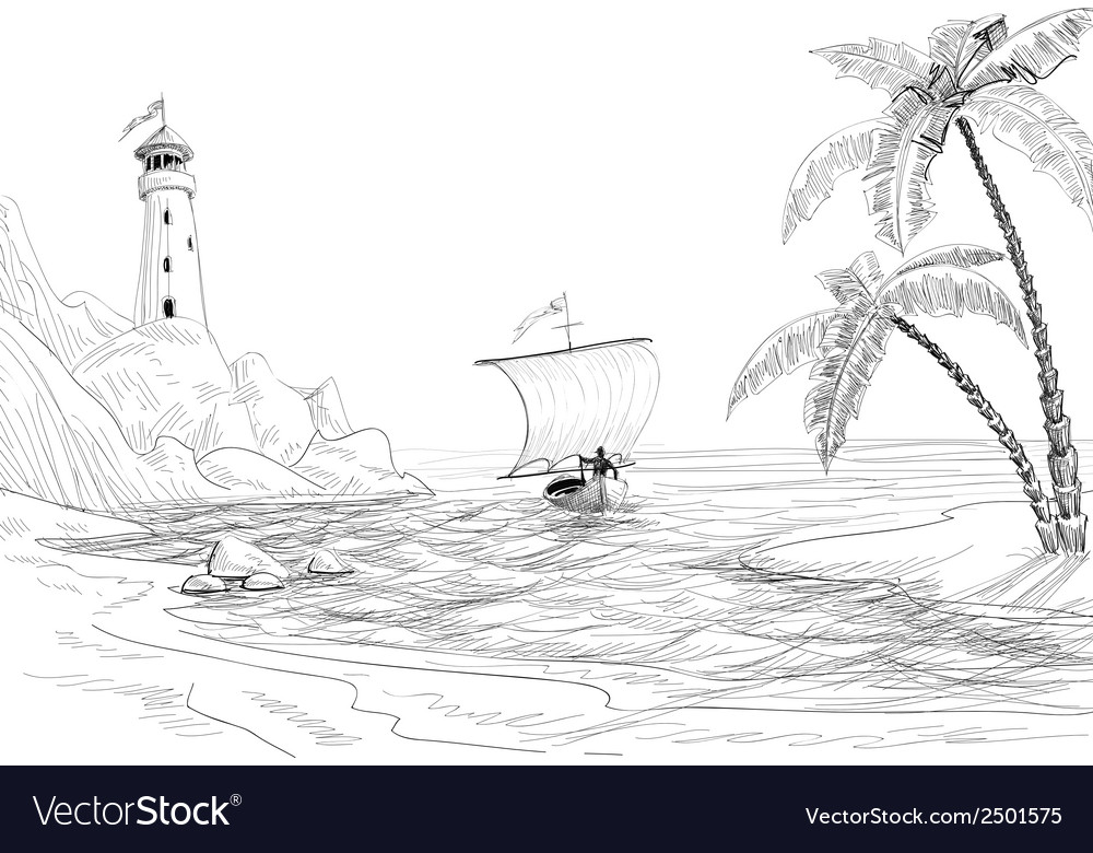 Beach sea and boat sketch vector | Price: 1 Credit (USD $1)